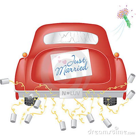 red car   married sign royalty  stock image