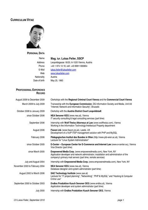european curriculum vitae format letters  sample