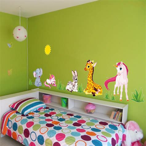 cartoon animal elephant giraffes grass bedroom removable