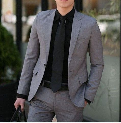 men039s business suit fashion 55 grey suit black tie 301 moved permanently