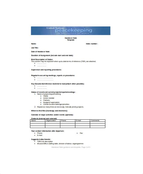 Handing Notes Template by 5 Handover Note Templates Pdf Doc Excel Sle Templates