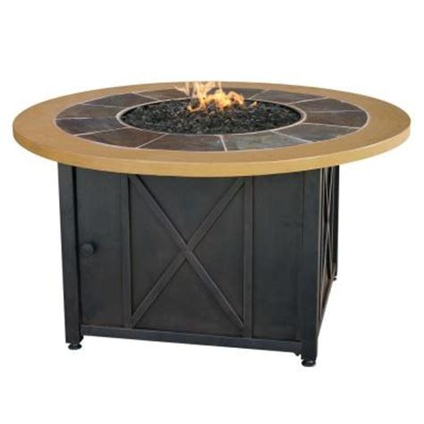 uniflame 43 in round slate tile and faux wood propane gas