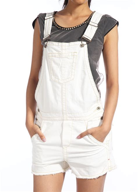 white denim jumpsuit leisure jumpsuit brace white denim