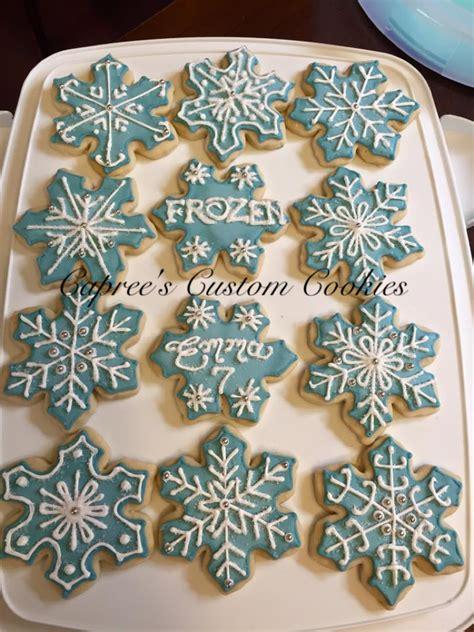 custom frozen inspired snowflake cookies   birthday