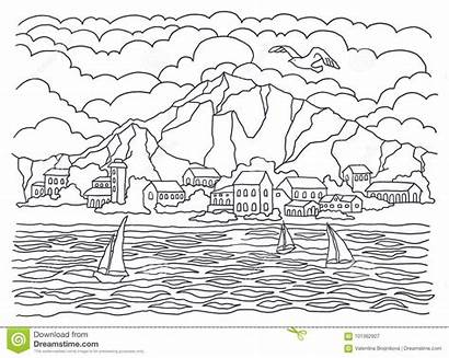 Coloring Landscape Sea Template Painting Waves Sailboats