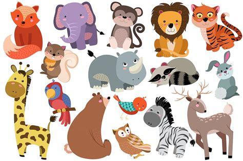 Cute wild safari animal cartoon set. Cute Baby Zoo Animals PNG Transparent Cute Baby Zoo ...