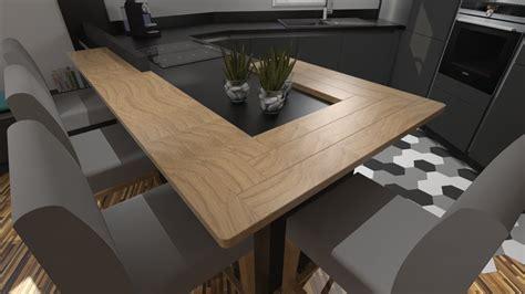 plan de travail cuisine bois cuisine moderne gris anthracite mat et bois massif