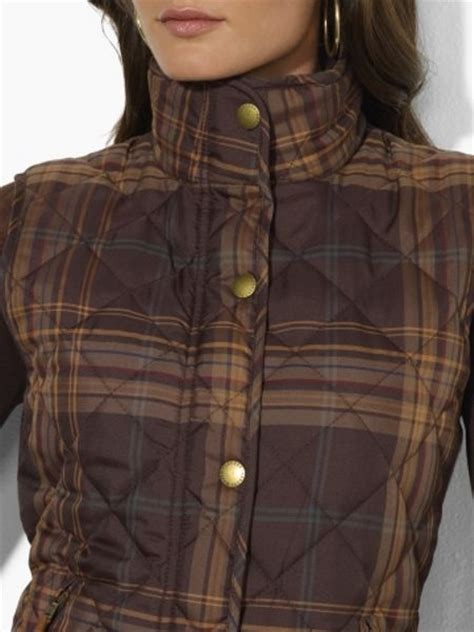 ralph plaid vest by ralph plaid quilted vest in brown brown