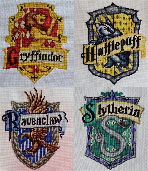 I've Now Stitched All Four Hogwarts House Crests! So