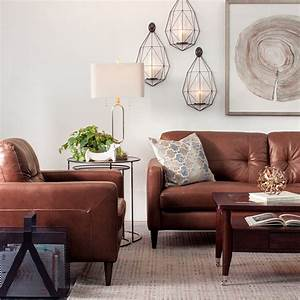 living room with brown leather chairs With how to decorate white living room furniture