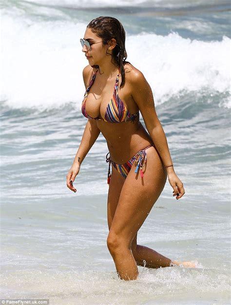 Bronzed Beauty Justin Bieber S Rumoured Ex Chantel Jeffries Frolics In The Miami Surf In Teeny