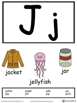 words starting with letter j myteachingstation 445 | Alphabet Flashcards For Preschooler Letter J Color