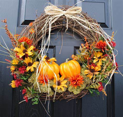 fall wreath for front door pumpkin patch