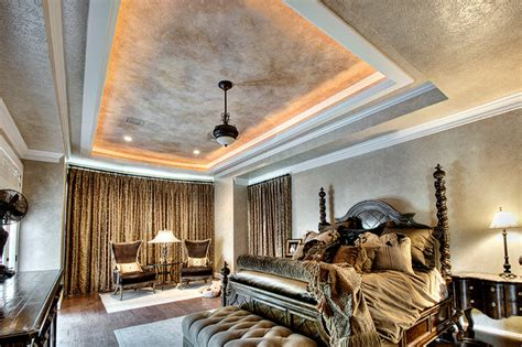 glazed bedroom multi layered ceiling mediterranean