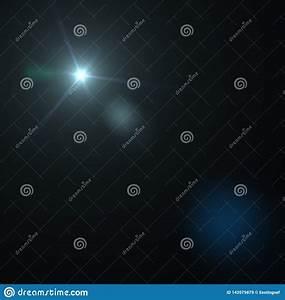 lens, flare, effect, on, dark, background, , digital, illustration