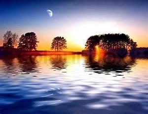 Spring landscape on a background beautiful sunrise ...