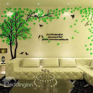 Creative Green Tree and Bird Pattern Crystal Acrylic 3D