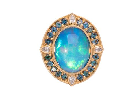 turquoise ring set blue peacock opal ring handmade by larry vasquez