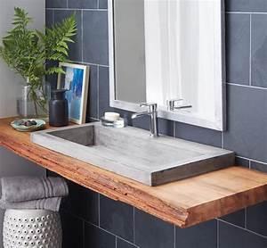 plan de travail salle de bain en bois pour tous les styles With salle de bain design avec lavabo en granit