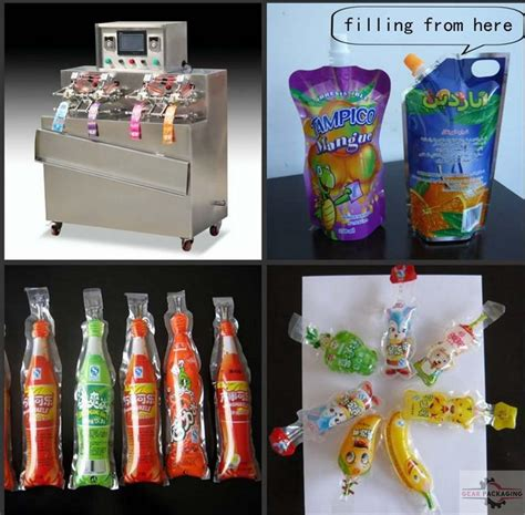 ice lolly stick shape juice spout bags filling sealing machine fully automatic stand  beverage