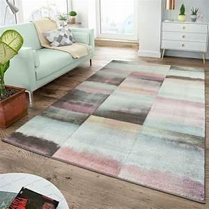 Teppich Modern Wohnzimmer : moderner teppich wohnzimmer teppiche karos pastell t rkis ~ Lizthompson.info Haus und Dekorationen