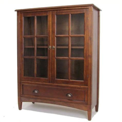 Storage Bookcase With Glass Doors Tall Mahogany