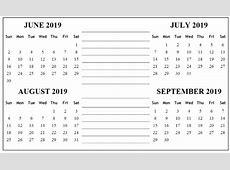 2019 4 Month Printable Calendar Templates [Free] June