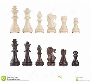 A Set Of Black And White Chess Pieces Stock Photo - Image ...