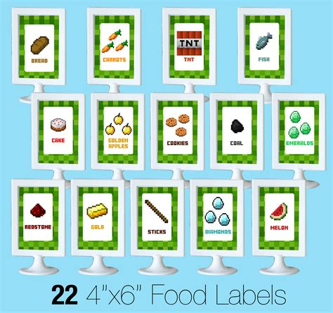 label cuisine free minecraft printable food labels pixshark com