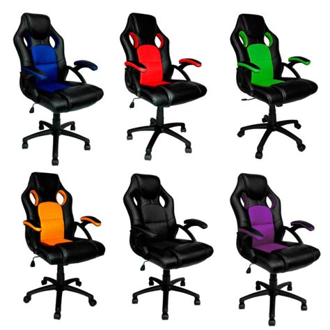 swivel pu leather mesh office racing gaming style
