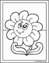 Daisy Coloring Pages Printable Flower Face Cute Colorwithfuzzy sketch template