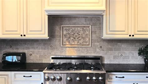 Metal Medallion Backsplash : Backsplash Medallions Kitchen Insert Tiles Decorative
