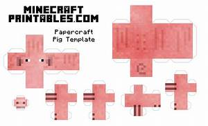 Free printable minecraft pig papercraft template print for Minecraft cut out templates