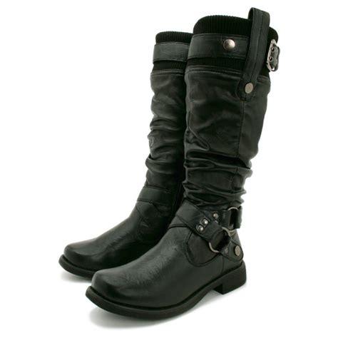 womens biker boots womens black biker buckle wide calf flat knee high boots