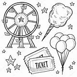 Carnival Amusement Sketch Wheel Vector Ticket Objects Ferris Balloons Doodle Includes Candy Cotton Equipment Format Lhfgraphics Drawings Illustration Depositphotos sketch template