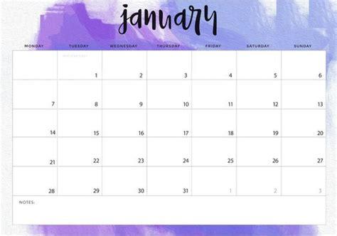 january  calendar landscape printable calendar