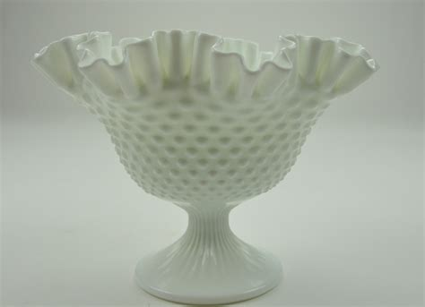 vintage white hobnail milk glass l vintage fenton art glass hobnail milk glass white compote