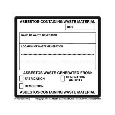asbestos  waste material package marking