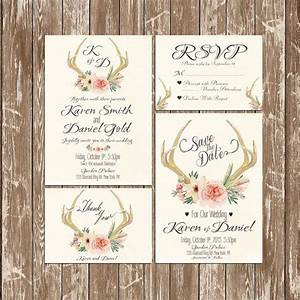 deer antler wedding invitation rustic watercolor set suite With free printable deer wedding invitations