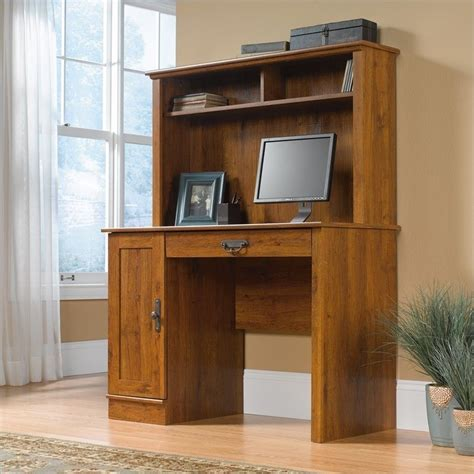 Cymax Desk With Hutch wood computer desk with hutch in oak 404961