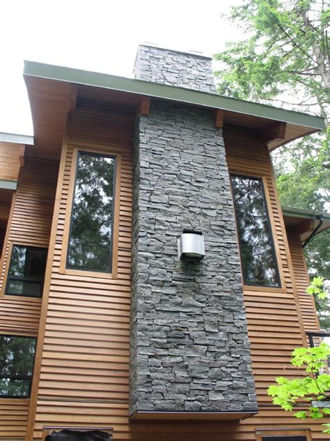 Turquoise Living Room Accessories by Deep Cove Stone Chimney Exterior Vancouver By Dwell