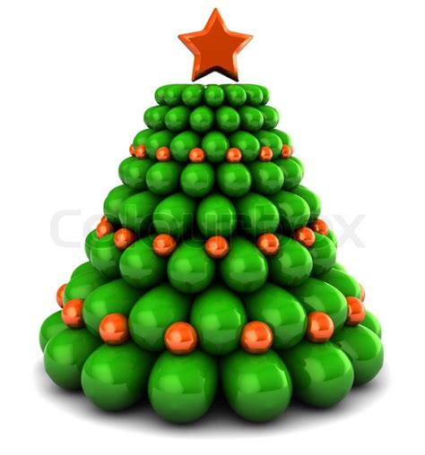 3d illustration of christmas tree with orange color