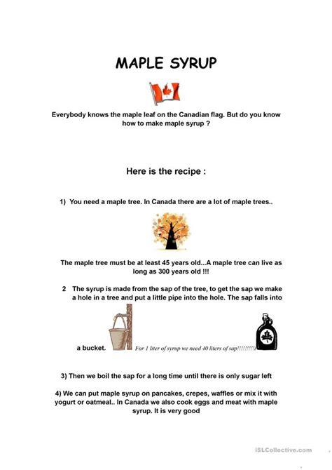 maple syrup worksheet  esl printable worksheets