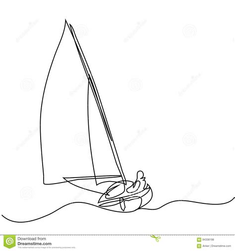 Boat Drawing Lines by Continuous Line Drawing Of Sailboat With Captain Stock