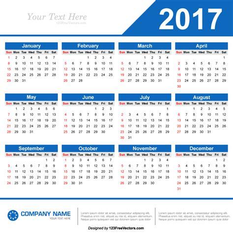 Free Calendar Template 2017 2017 Calendar Template Vector By 123freevectors On Deviantart