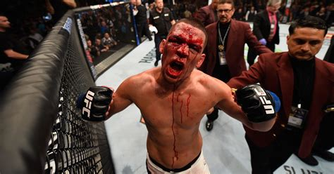 bloody nate diaz stuns conor mcgregor forces   tap