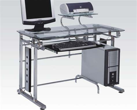 metal computer workstation desk acme computer desk in silver chrome metal ac92040
