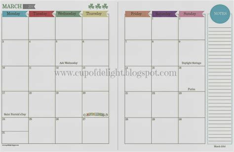 2 Page Monthly Calendar Printable Free