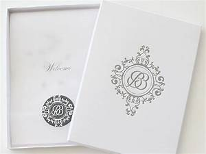 a5 boxed invitation with a letterpressed monogram on the With wedding invitation boxes south africa