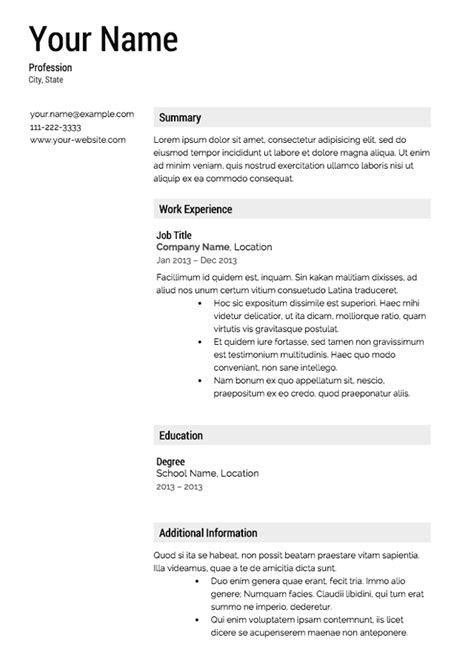 Free Resume Outlines by 30 Free Professional Resume Templates